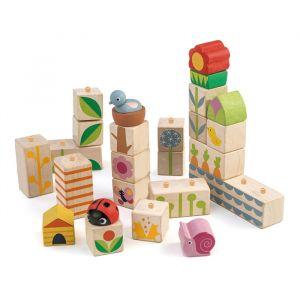 Houten stapelblokken tuin Tender Leaf Toys