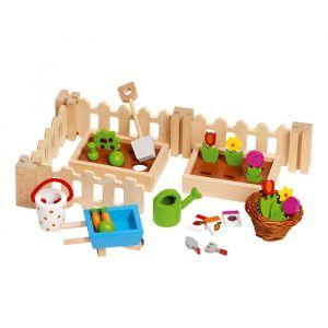 Poppenhuis tuintje hout Goki