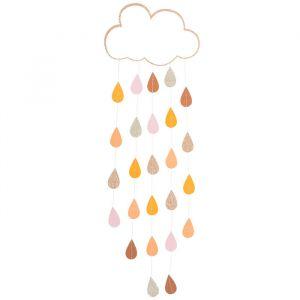 Decoratie wolk met glitter druppels