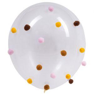 Pompom ballonnen roze-caramel-mosterdgeel (5st)
