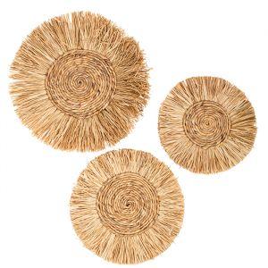 Muurdecoratie cirkels raffia (3st)
