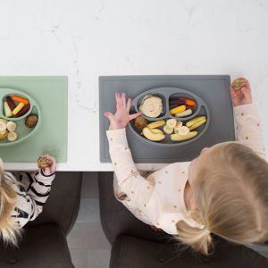 Siliconen placemat met bord Happy Mat grijs EZPZ