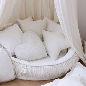 Kussen Sheepskin Fringe Boho vanilla Cotton & Sweets