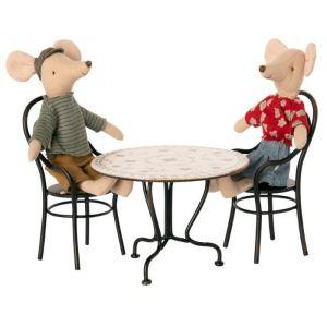 Miniatuur eettafel met 2 stoelen Maileg