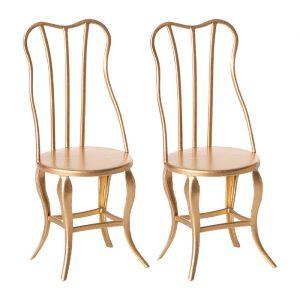 Vintage stoeltjes goud 2 stuks (micro) Maileg