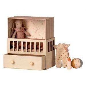 Konijn in babykamer roze (micro) Maileg