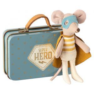 Superhero muis in koffertje (kleine broer) Maileg