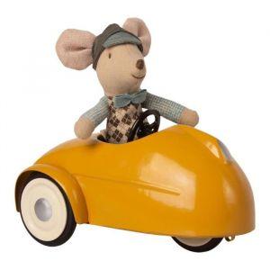 Race muis in auto geel (kleine broer) Maileg