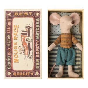 Grote broer muis Stripes mosterdgeel in doosje Maileg