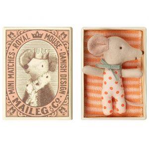 Slapende muis in doosje roze (baby muis) Maileg