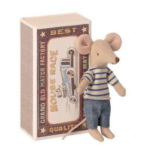 Grote boer muis gestreept shirtje in luciferdoosje Maileg