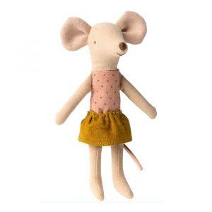 Grote zus muis in oker rokje Maileg