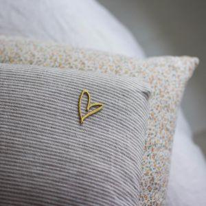 Strijkembleem Hart goud Petit Pourri