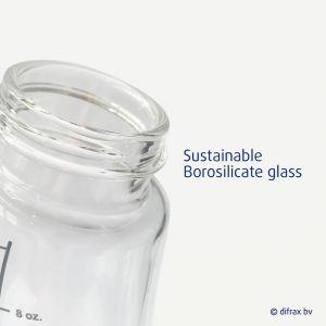 S-fles glas 250ml wit Difrax