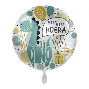 Folieballon Hiep hiep hoera Dino (43cm)