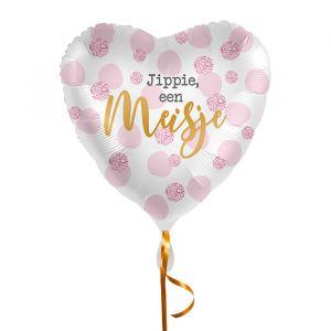 Folieballon hart Jippie een meisje