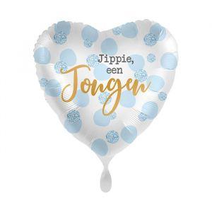 Folieballon hart Jippie een jongen (43cm)