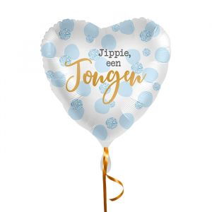 Folieballon hart Jippie een jongen