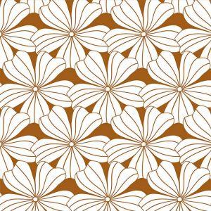 Hoeslaken ledikant Flowers cinnamon brown Swedish Linens
