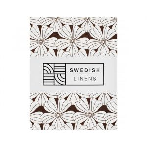 Hoeslaken ledikant Flowers dark chocolate Swedish Linens