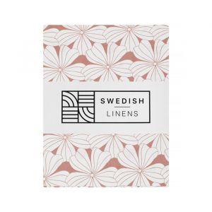 Hoeslaken ledikant Flowers terracotta pink Swedish Linens