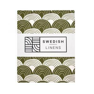 Hoeslaken ledikant Rainbows Olive Green Swedish Linens