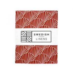 Hoeslaken ledikant Seashells burgundy Swedish Linens