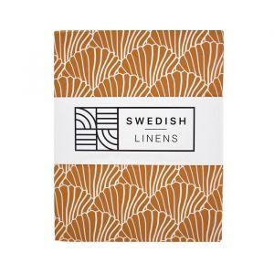 Hoeslaken ledikant Seashells cinnamon brown Swedish Linens
