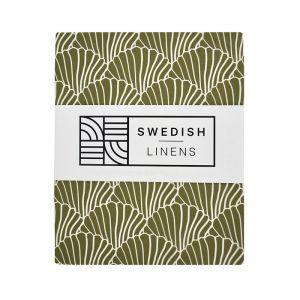 Hoeslaken ledikant Seashells olive green Swedish Linens