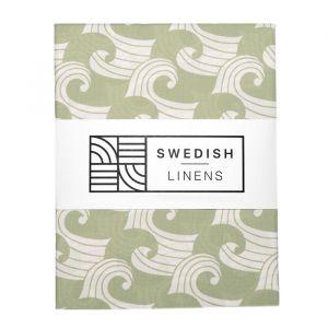 Hoeslaken ledikant Waves sage green Swedish Linens