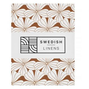 Hoeslaken wieg Flowers cinnamon brown Swedish Linens