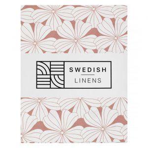 Hoeslaken wieg Flowers terracotta pink Swedish Linens