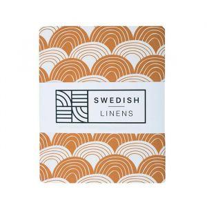 Hoeslaken wieg Rainbows cinnamon brown Swedish Linens
