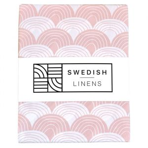 Hoeslaken wieg Rainbows nudy pink Swedish Linens