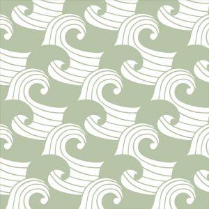 Hoeslaken wieg Waves sage green Swedish Linens