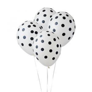 Ballonnen Dots Wit-Zwart (6st)