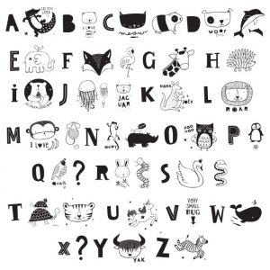 Symbolenset ABC Zwart voor lightbox A4 & A5