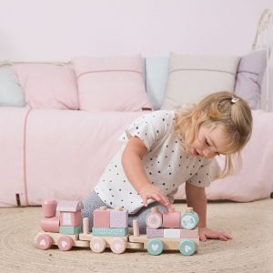 Houten blokkentrein Adventure Pink Little Dutch