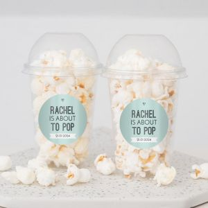 Ready to pop babyshower popcorn beker mint