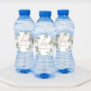 Babyshower bedankje flesje water botanical baby