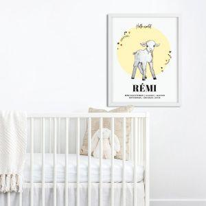 Geboorteposter Sophie de Ruiter illustratie geel