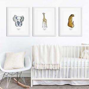 Aquarel poster olifant illustratie door Sophie de Ruiter