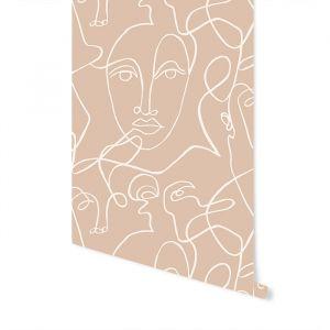 Behang Facing Lines brown (280x159cm) May & Fay