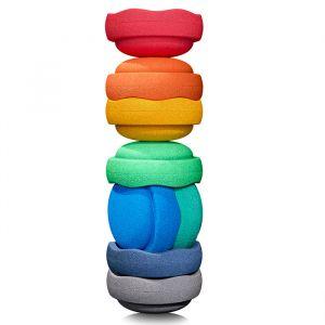 Stapelstein balance set Rainbow groot grey edition (8st)
