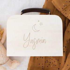 Gepersonaliseerd houten koffertje maan en sterren