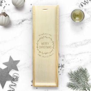 Gepersonaliseerde wijnkist kerst met krans