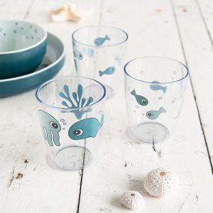 Yummy Mini glazen Sea Friends blue (3st) Done by Deer