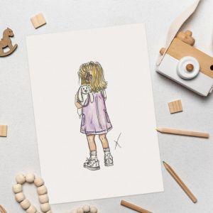 Persoonlijke happy kid illustratie Sophie de Ruiter