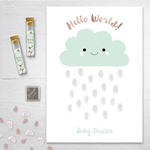 Hello world vingerafdruk gastenboek babyshower