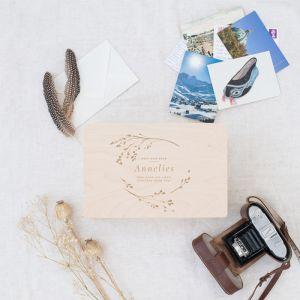 Houten memorybox botanical met naam